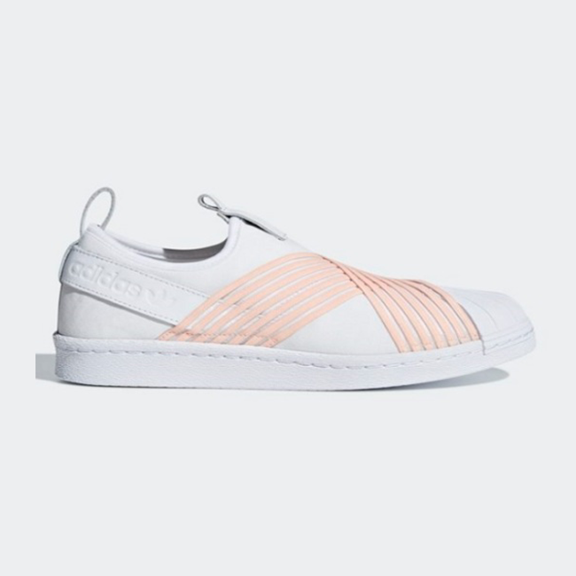 Details about New Adidas Original Womens SUPERSTAR SLIP ON WHITE PINK D96704 US W5 8 TAKSE