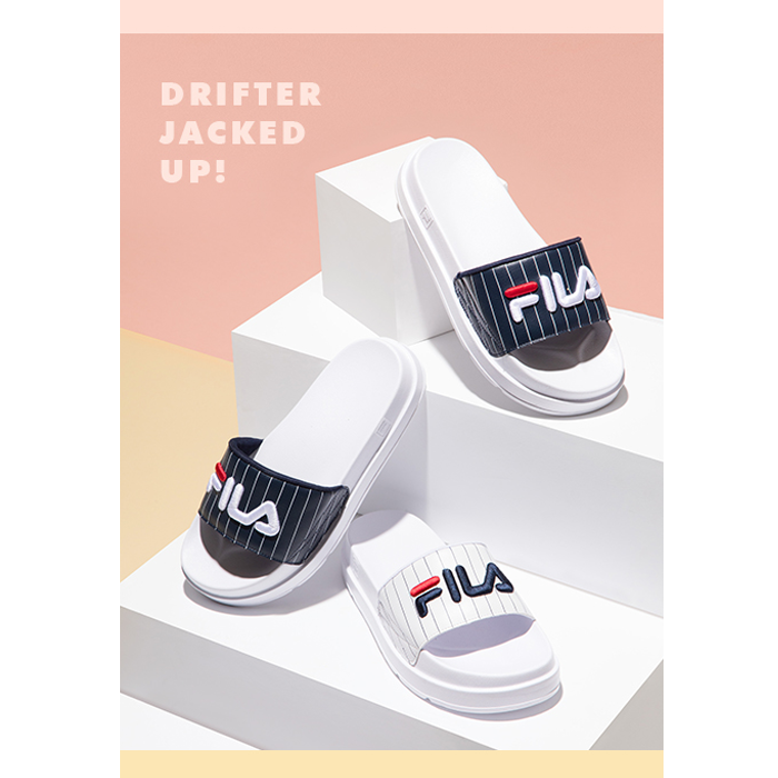 0851044c11e71e New FILA Slides DRIFTER JACKED UP STRIPES WHITE FS1SLA2091X UNISEX ...