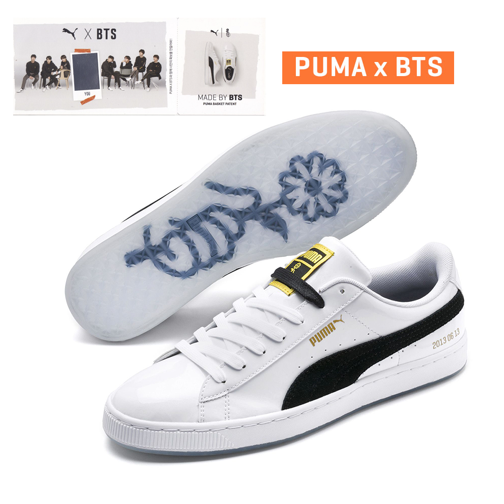 Details about PUMA x BTS BASKET PATENT 36827801 With BTS Special Photo card  WHITE/ BLACK TAKSE